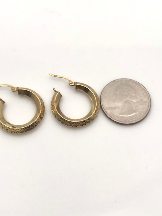 Gold Hoop Earrings, Diamond Cut Geometric Earring… - image 7