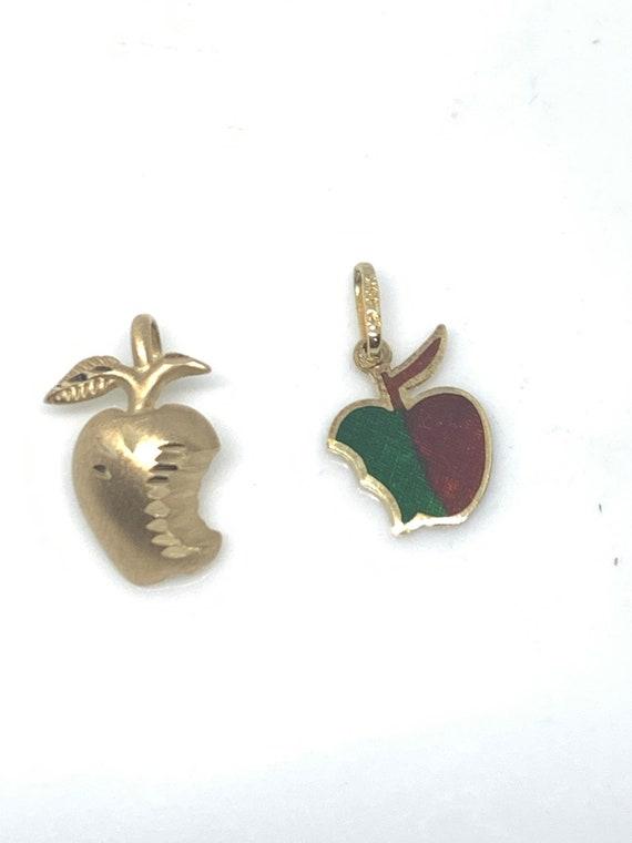 14k Gold Apple Charm Pendant, Enamel Charm, Gift F