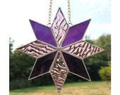Stained Glass Star, Pink and Purple Suncatcher Decoration, Made by Alice Glass