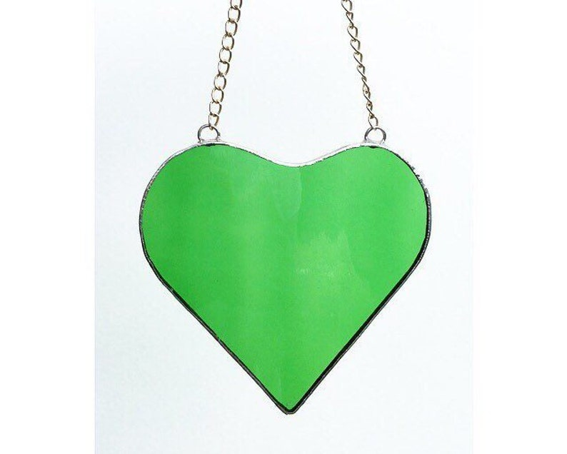 Stained Glass Decoration Made by Alice Stained Glass Art Green Glass Hanging Heart Love Heart Suncatcher