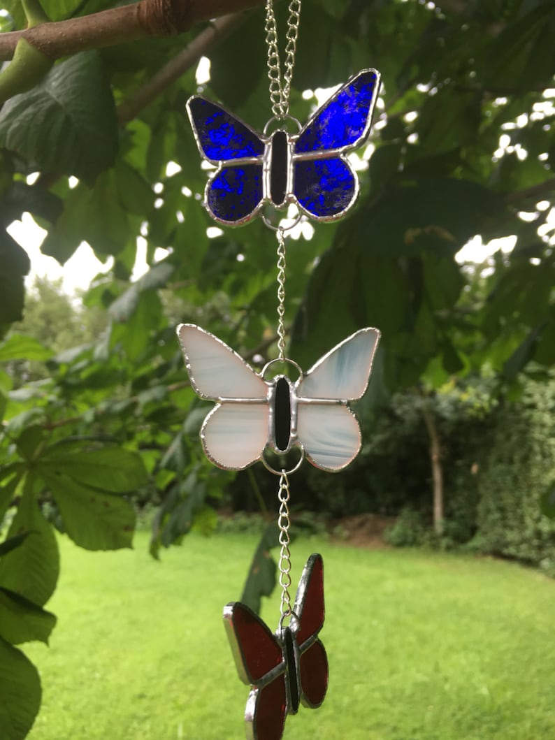 Stained Glass Blue White Red Butterfly Suncatcher Gift Decoration Made By Alice Glass