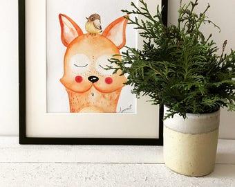 Original watercolor  illustration, watercolor painting, kids art, design,  home wall decor