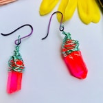 Neon earrings Raw Quartz Hot Pink Bright Colorful Jewelry