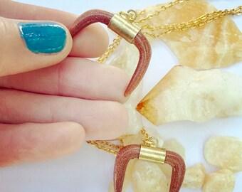 Goldstone Crystal Bullhorn Necklace
