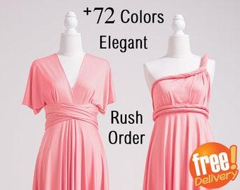 Convertible Dress Watermelon, Convertible Bridesmaid Dress Short, Convertible Maxi Dress, Convertible Wrap Dress,  Convertible Dress Long
