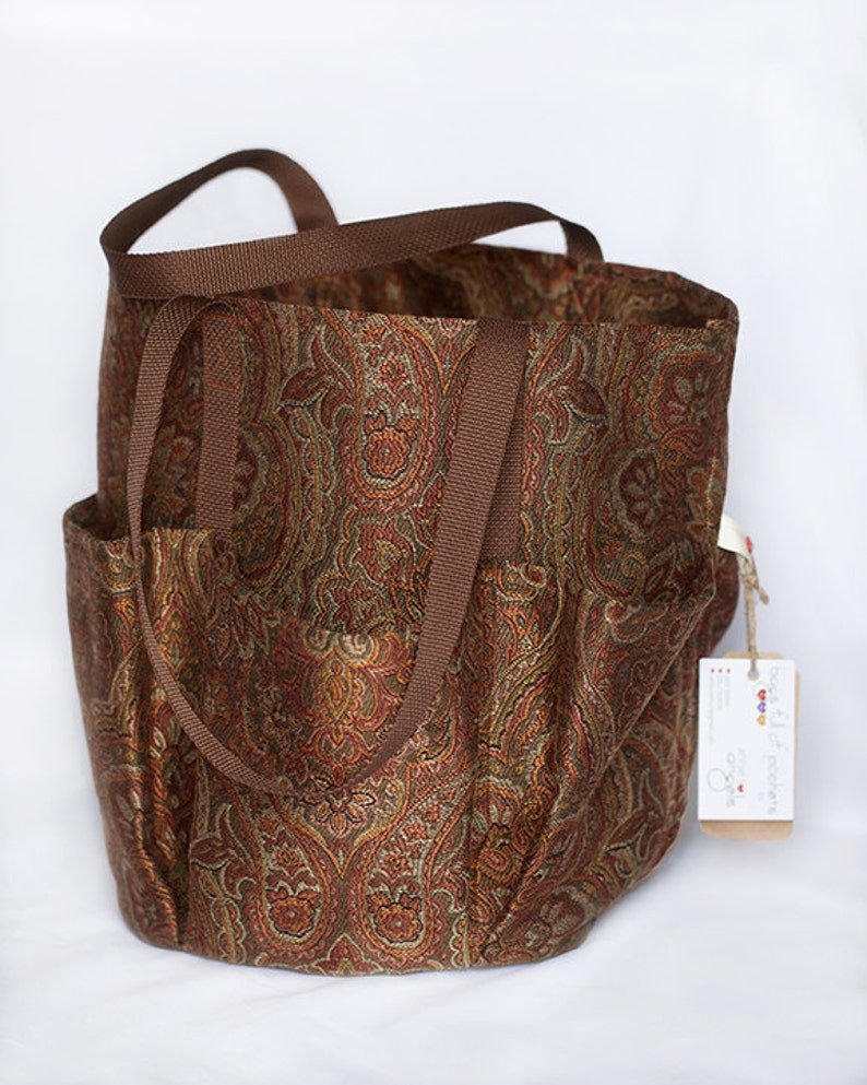 b4cbdf4a58d bags full of pockets, brown paisley pattern tote, everyday women's bag,  pockets, outdoor fabric
