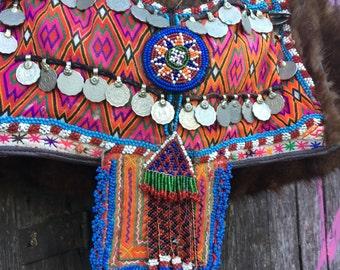 Vintage, tribal, boho fur bag