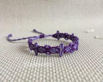 Purple micro macrame bracelet with beads, hemp bracelet, bohemian bracelet
