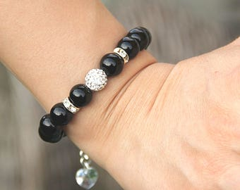 Healing Stone Bracelet Black Onyx Bracelet Bead Bracelet Women Healing Crystal and Stone Protection Bracelet Gemstone Jewelry Gift for Wife
