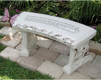 Grandparents Concrete Bench STOCK for customization see Grandparents CUSTOM bench