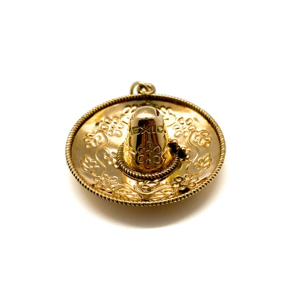 Vintage Mexican Sombrero Charm in 14kt Rose Gold