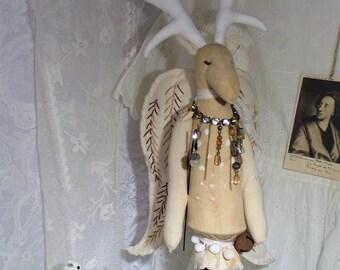 deer ornament, textile deer, primitive deer, angel ornament, primitive angel, primitive decor, soft sculpture deer, prim angel, prim deer