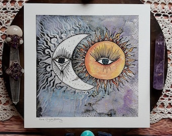 Sun and moon art print, moon art print, sun art print, celestial art, moon wall art, sun wall art, moon and sun, sun and moon, moon face,
