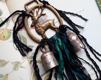 Witch bells, witches bells, pagan altar supplies, pagan home, door bells, brass bells, stag bells, deer brass, stag brass, vintage brass,