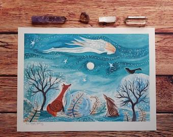 Angel art print, angel wall art, fox wall art, hare wall art, hare art print, fox art print, woodland art, whimsical art, spiritual art, art