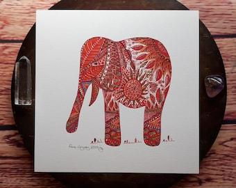 Elephant art print, elephant wall art, animal art print, animal wall art, animal art, elephant decor, red wall art, hippy art, elephant,