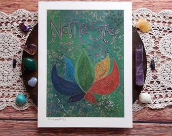 Namaste art print, lotus art print, lotus wall art, spiritual art, namaste, meditation room decor, meditation art, therapy room wall art,