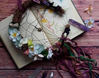 Moon wreath, moon dreamcatcher, willow moon, crescent moon, moon wall decor, moon wall hanging, crystal moon, floral moon, pagan supplies,