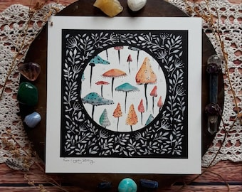 Mushroom wall art, nature wall art, nature art print, shroom art, floral art, nature art, toadstool art, mushroom, nature decor, pagan home,