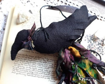 Raven witch bells, witches bells, textile raven, fabric raven, witchy supplies, chimes, bells, witchcraft supplies, pagan supplies, raven,