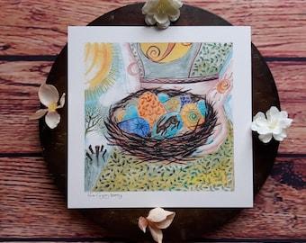 hare wall art, sun art, egg art print, ostara art print, pagan wall art, pagan art, nest art, stone circle art, standing stones art, pagan,