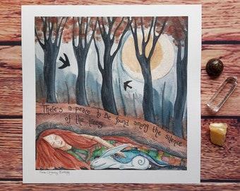 Tree art print, woodland art, hare art print, nature wall art, large art print, pagan art, art with wording, hare art, goddess art, trees,