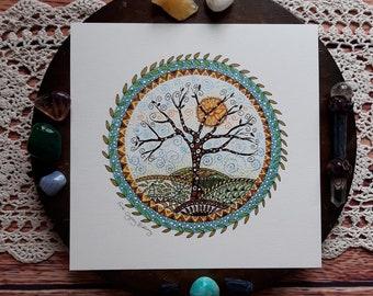 Tree art print, tree art, sun wall art, tree of life print, tree of life, nature art, pagan art, tree picture, tree print, nature art print,