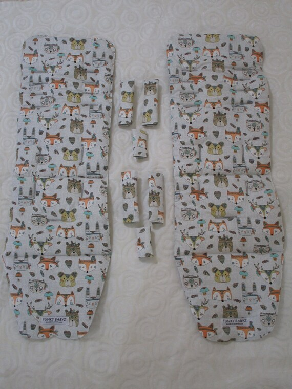 Baby jogger city mini pram liner set-Indian animals-Handmade