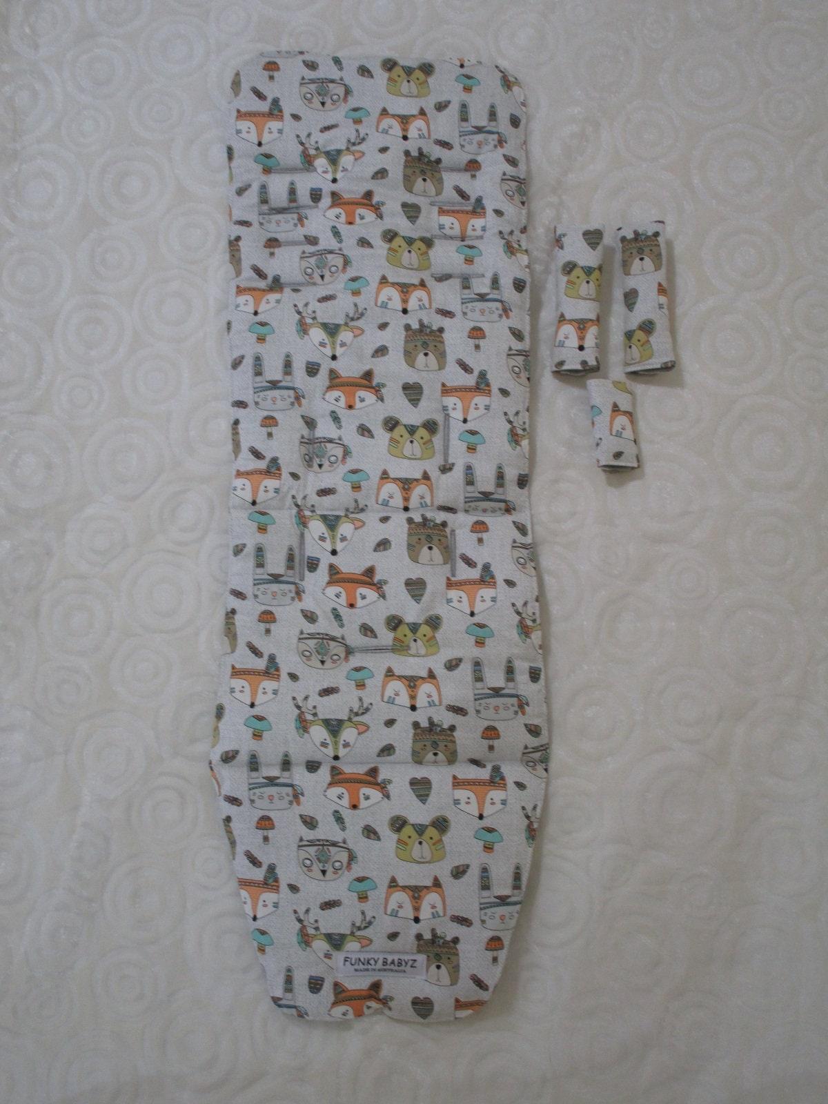 Handmade pram liner set-Jungle animals-grey-100/% cotton*Funky babyz