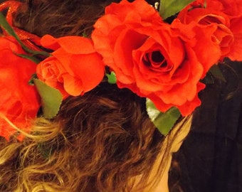 Rose Floral Headband, Rose Flower Crown, Renaissance headband Adjustable, Renaissance flower crown, FAIRY FLOWER CROWN