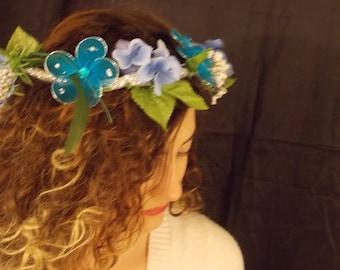 Blue Floral Headbands, Flower Crown, Renaissance headband Adjustable, Renaissance flower crown, FAIRY FLOWER CROWN