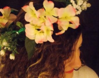 Pink Floral Headbands, Flower Crown, Renaissance headband Adjustable, Renaissance flower crown, FAIRY FLOWER CROWN