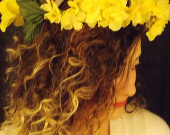 Yellow Floral Headbands, Flower Crown, Renaissance headband Adjustable, Renaissance flower crown, FAIRY FLOWER CROWN