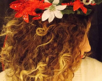Christmas Floral Headbands, Flower Crown, Renaissance headband Adjustable, Renaissance flower crown, FAIRY FLOWER CROWN