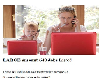 Working From Home Jobs, Work at home jobs, Make Money Online, Employment at Home ( 640 JOBS Listed) Homebased Jobs