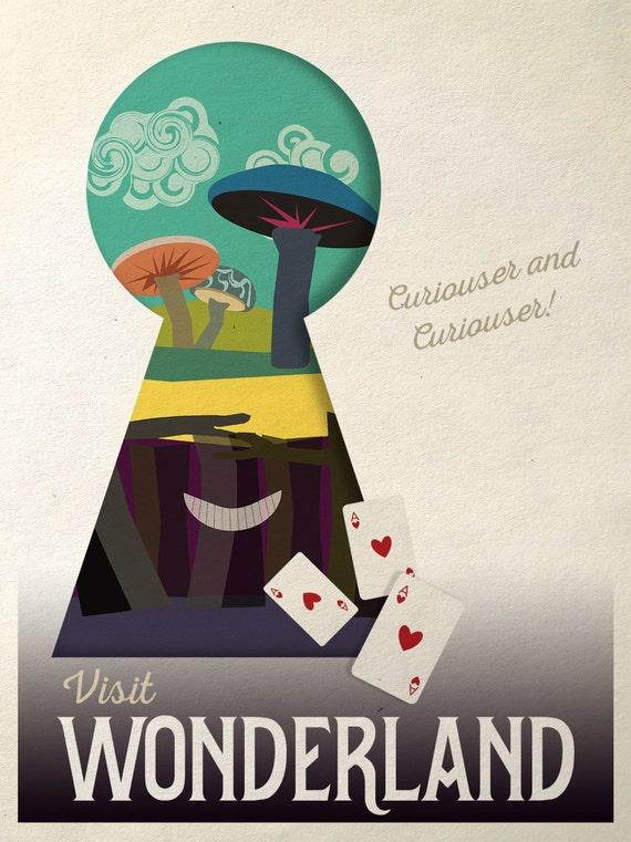 alice im wunderland poster poster retro reisen m dchen etsy. Black Bedroom Furniture Sets. Home Design Ideas