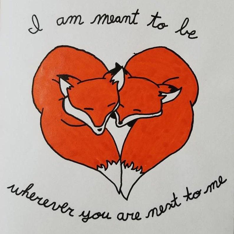 Hand Painted Fox Love Card
