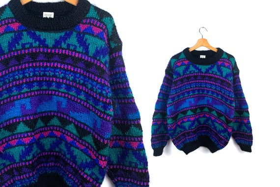 80s Vintage Color Block Oversized Sweater