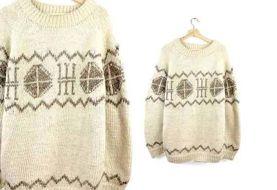 Vintage 100% Wool Handmade Sweater | Oversized Swe