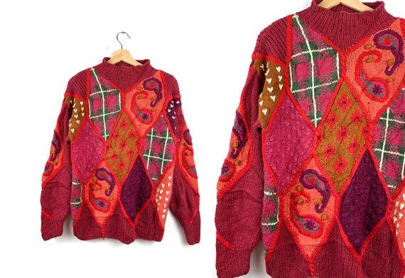 90s Vintage Paisley Oversized Sweater | Boho sweat