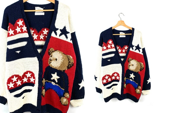 Vintage American Flag Novelty Cardigan Sweater | E