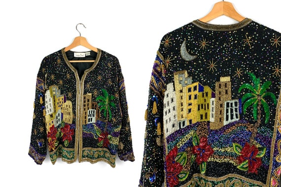 80s Vintage Laurence Kazar Beaded Jacket