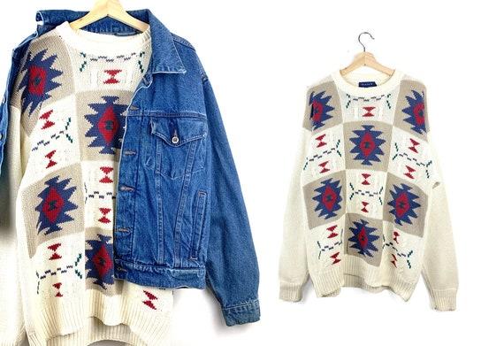 90s Vintage Southwestern Oversized Sweater | Boho