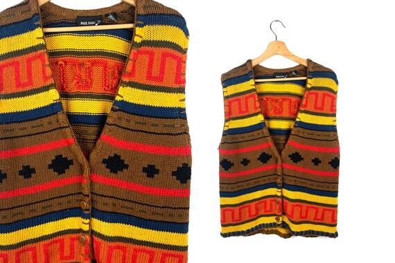 Vintage Western Oversized Sweater Vest | Vintage S