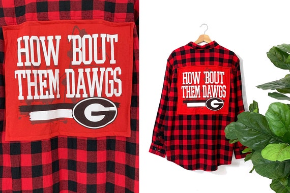 Small Medium Georgia Bulldogs Upcycled Gameday Flannel Shirt