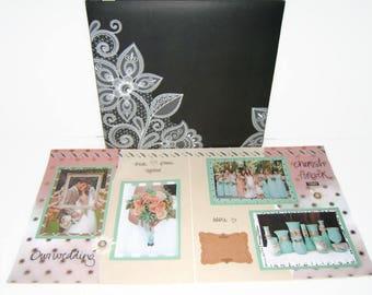 Mint and Coral Wedding - Wedding Scrapbook Album - Wedding Album - Wedding Shower Gift - Wedding Photo Album - Anniverary Scrapbook Album