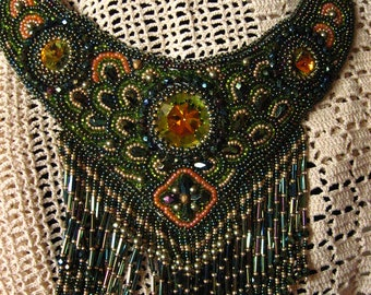 Statement necklace  bead embroidery