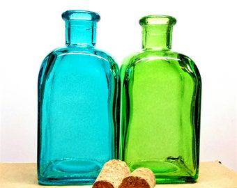 EMPTY 8 oz (250 ml) Green or Blue Taberna Spanish Recycled Glass Bottle with Cork