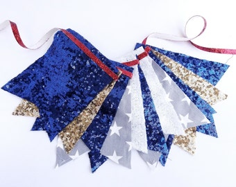 4th of July Banner - Garland, Bunting, Independence Day Banner, Patriotic, Sequin Banner, Stars, Fourth of July