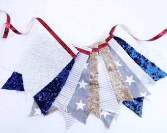 4th of July Banner - Garland, Bunting, Independence Day Banner, Patriotic, Sequin Banner, Fourt of July